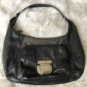 Michael Kors black aged leather shoulder bag